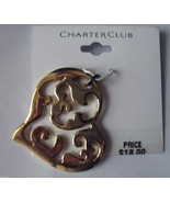 Charter Club Gold Pendant New Fashion Heart Shaped Jewelry Retail Card - $9.79