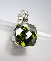 Designer Style Silver Gold Balinese Filigree Olive Green CZ Crystal Pendant - $26.99