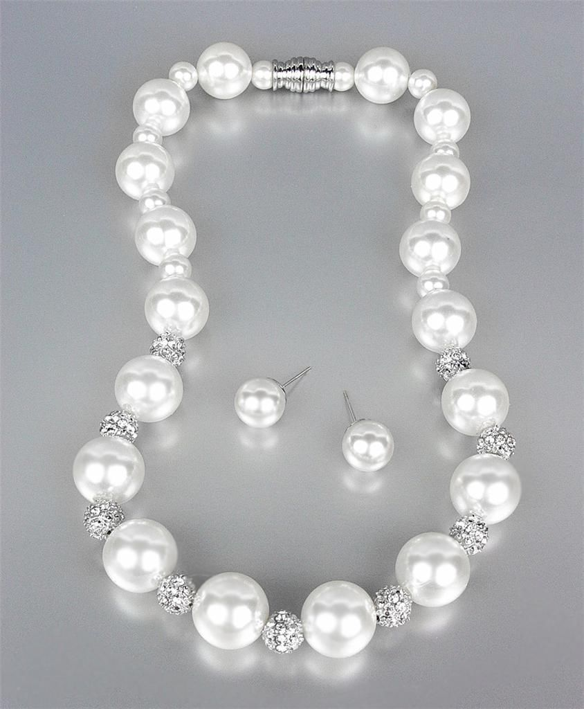 Primary image for ELEGANT White Pearls Pave CZ Crystals Balls Necklace Earrings Set Bridal