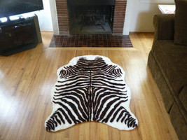 Faux Fur Zebra Hide Rug from France, 3 x 5 Brown-White Fake Zebra Skin Rug - $49.99