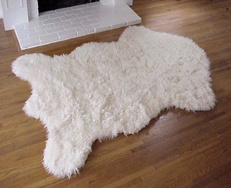 339 5quot x 439 6quot faux fur polar bear rug fake bear rug fake for Fur rugs