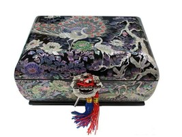 Lacquer inlaid mother of pearl peacock wood  trinket jewelry jewel box #... - $693.00