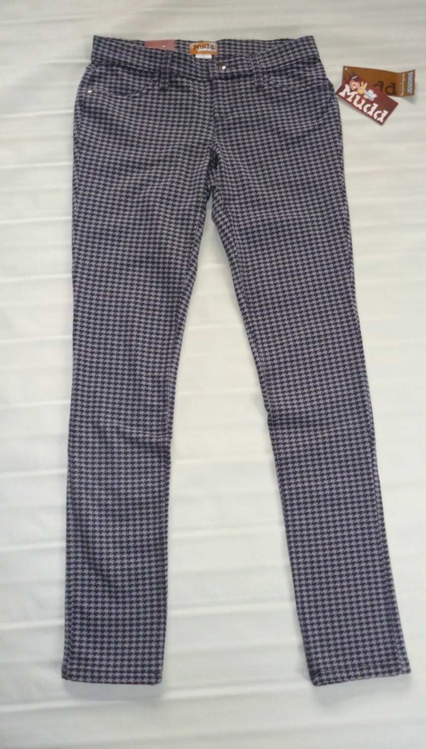 MUDD Skinny Stretch Jeggings-Houndstooth Legging Pant-Gray Black- 3 New $40 image 4