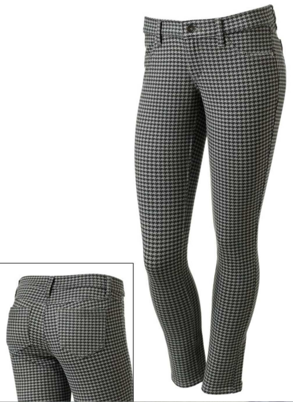 MUDD Skinny Stretch Jeggings-Houndstooth Legging Pant-Gray Black- 3 New $40 image 7