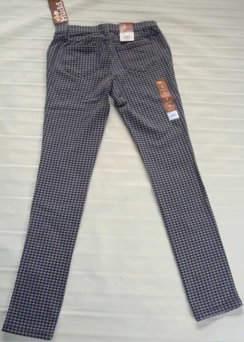MUDD Skinny Stretch Jeggings-Houndstooth Legging Pant-Gray Black- 3 New $40 image 6