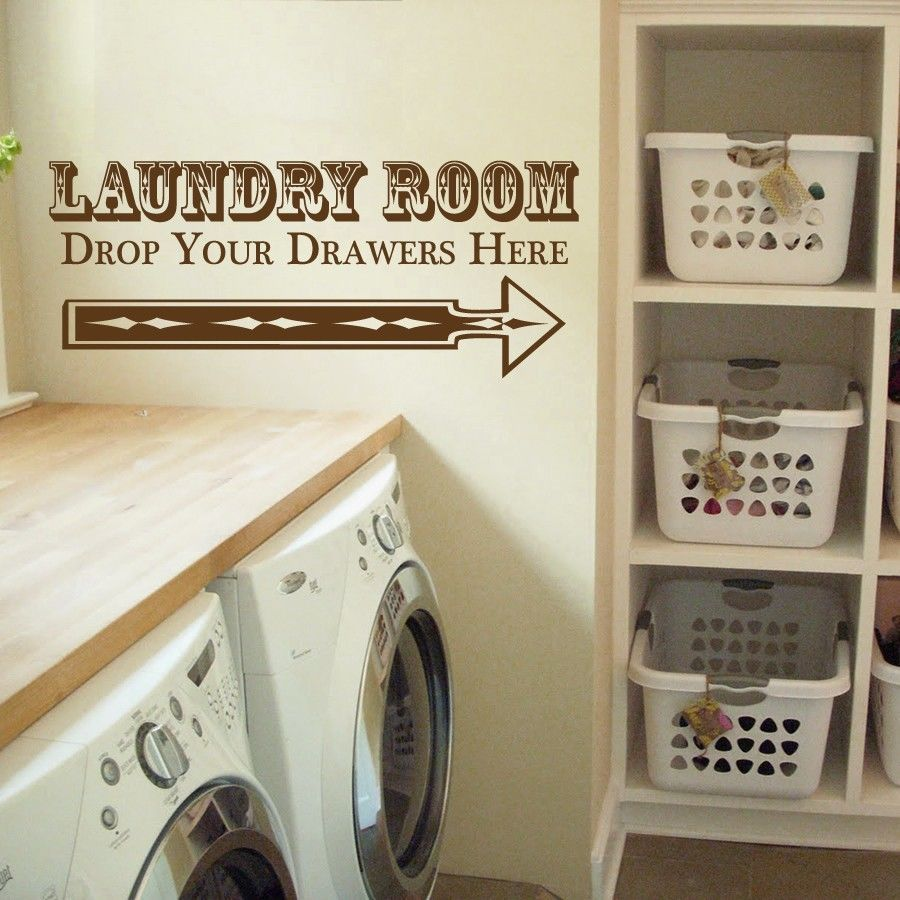"""Drop Your Drawers Laundry Room Vinyl Wall Quote Sticker Decal 22""""h x 52""""w"""