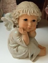 Angel Figurine with Glitter Gown and Wings - $14.99