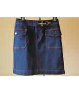 RALPH LAUREN JEANS Skirt Denim Red Stitching Claw Hook Buckle New 4 - $41.58