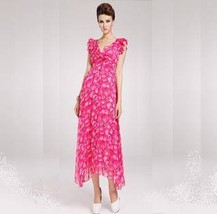 Frilled Pink Floral Bohemian Empire Waist Long Chiffon Dress  - $59.95
