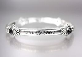 Inspirational Silver God Is Good All The Time Black Crystals Stretch Bracelet - $10.99
