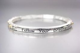 Inspirational Thin Silver Filigree Gold Dots Follow Your Dreams Stretch Bracelet - $8.99