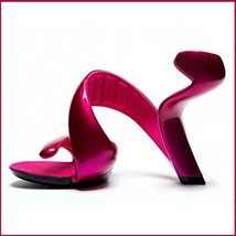 Hot Pink Padded Mojito Swirl Wrap Open Toe Sole-less High Heel Pumps image 1