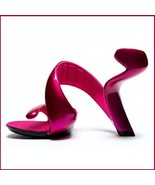 Hot Pink Padded Mojito Swirl Wrap Open Toe Sole-less High Heel Pumps - £141.98 GBP