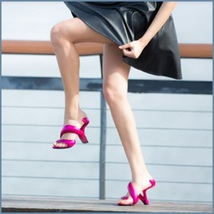 Hot Pink Padded Mojito Swirl Wrap Open Toe Sole-less High Heel Pumps image 2
