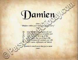 Damien Hidden Within Your Name Is A Special Story Letter Poem  8.5 x 11 ... - $8.95