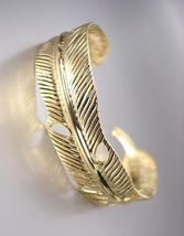 NATURALLY CHIC Gold Texture Metal LEAF Cuff Bracelet - $9.49