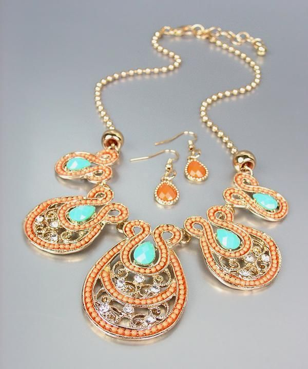 Primary image for NEW Coral Beads Turquoise Crystals CZ Gold Filigree Necklace Earrings Set