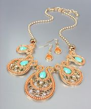 NEW Coral Beads Turquoise Crystals CZ Gold Filigree Necklace Earrings Set - $16.99