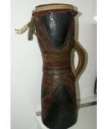Rare Polychrome Kundu Tribal Drum Percussion Unique Hand carved Sepik Ne... - $427.49