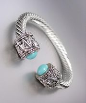 NEW Designer Style Chunky Silver Cable Blue Bead Antique Filigree Cuff B... - €14,87 EUR