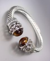 NEW Designer Style Chunky Silver Cable Brown Tigers Eye Stone Cuff Bracelet - €19,24 EUR
