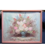 Vtg Estate Original Oil on Canvas and Board by D. Perry. Still Life Fram... - $37.16