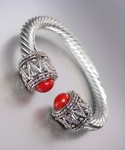 NEW Designer Style Chunky Silver Cable Red Bead Antique Filigree Cuff Br... - €15,04 EUR