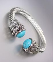 NEW Designer Style Chunky Silver Cable Turquoise Stone End Tips Cuff Bra... - $417,57 MXN