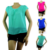 Cap Sleeve Summer Chiffon Blouse Shirt Pleat Front,Key Hole Back Beach Party Top - $19.99