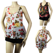FLOWER Print CHIFFON Scoop Summer BLOUSE Button/D Casual  Tank Top Shirt... - €15,79 EUR