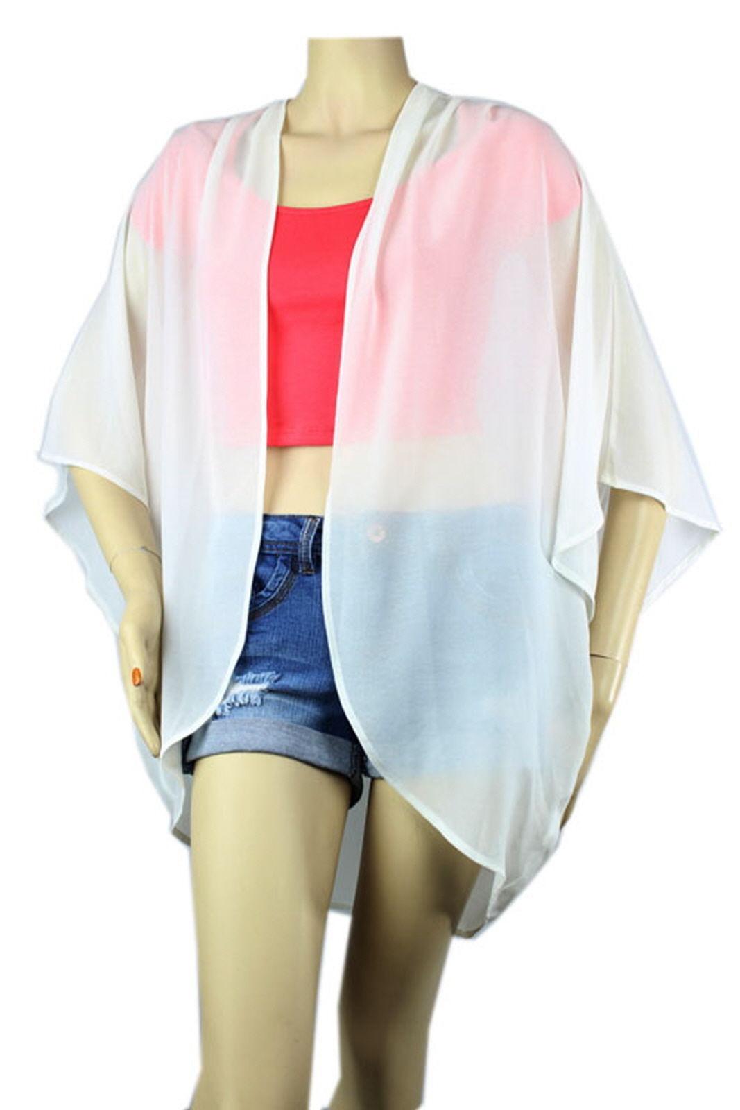 OPEN Layer Pleat Chiffon CARDIGAN Top Loose Fit Kimono Summer Blouse Shirts S-3X