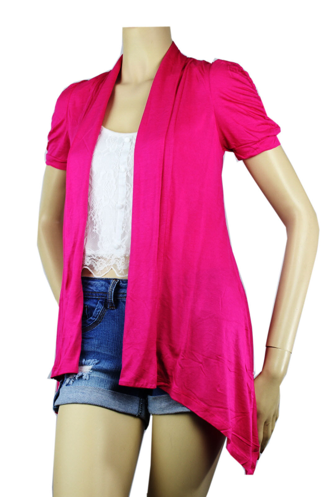 OPEN Layer Pleat Rayon CARDIGAN Top Loose Fit Short Slv Blouse Beach Shirt S-3XL