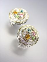 *NEW * Designer Style Silver Cable Gold Multicolor CZ Crystals Post Earrings - $27.99