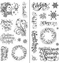 Inkadinkadoo Warm Holiday Wishes Double Stamp Set