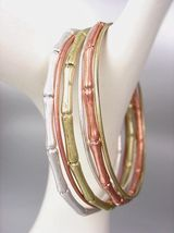 SILVER GOLD COPPER 6 PC Bamboo Motif Thin Metal OVAL Bangles Bracelet - €11,76 EUR
