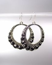 SPARKLE Antique Silver Metal Black CZ Crystals Round Dangle Earrings - $9.49