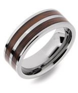Men's 8mm Tungsten Cabide Wedding Band Ring w/ Double Wood Inlay No Stone - $79.99