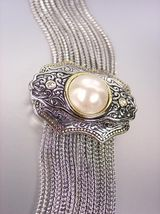 UNIQUE Designer Style BALINESE Filigree Pearl Crystals Medallion Cables Bracelet - $29.99