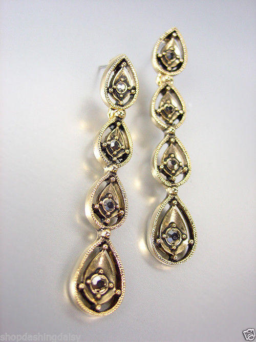 Primary image for VICTORIAN Antique 18kt Gold Plated Marcasite Crystals Chandelier Dangle Earrings