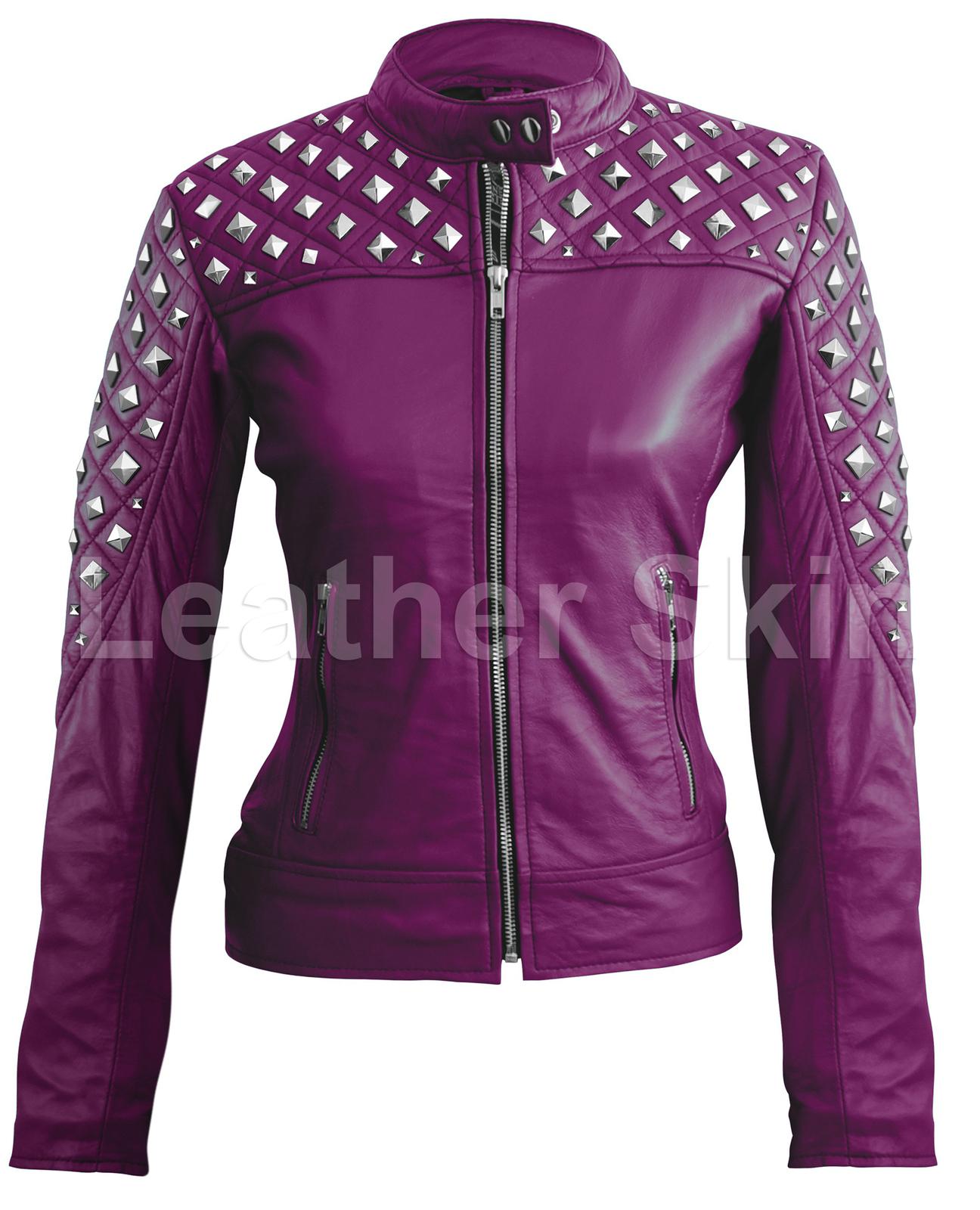 leather skin women purple spike studded studs quilted genuine leather jacket coats jackets. Black Bedroom Furniture Sets. Home Design Ideas