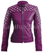 Leather Skin Women Purple Spike Studded Studs Quilted Genuine Leather Ja... - $189.99