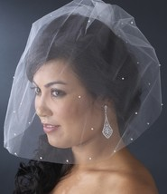 Single Tier Fine Birdcage Face Veil Scattered with Pearls - $21.95