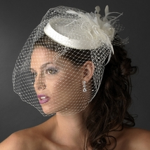 Vintage Couture Bridal Hat of Rhinestones & Tulle with Russian Blusher Veil  - $80.99