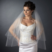Double Layer Elbow Length Veil in White with Scattered Rhinestone & Pearl Accent - $51.95
