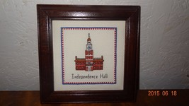 Independence Hall Building Finished Cross Stitch Framed 4th July Freedom... - $35.67