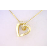 14kt Yellow Gold Floating Heart Pendant with Di... - $435.00