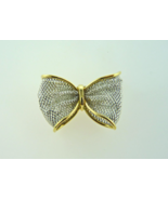18kt Yellow Gold and Platinum Bow Pin - $210.00