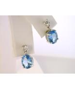 Blue Topaz Earrings with Diamonds - $260.00