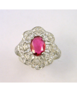 Antique Style Platinum Ruby and Diamond Ring - $1,585.00