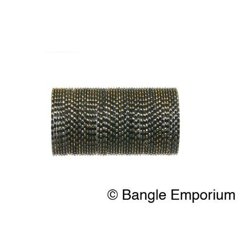 Primary image for 2.8 Ellipse 48 Piece Grey Indian Bangles size Medium Chooriya USA Seller Gray
